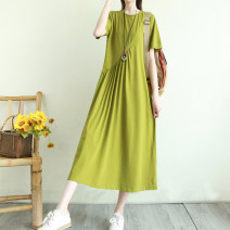 Dress Summer 2021 Blue, black, red, grass green Average size longuette singleton  Short sleeve Sweet Crew neck Loose waist Solid color Socket Big swing routine Others Type H Pockets, stitching 71% (inclusive) - 80% (inclusive) cotton Mori