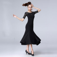 Modern dance suit (including performance clothes) Double / Dan Baoluo Waltz, tango, Foxtrot, trot female Women's lace round neck crystal hemp long sleeve black dress, women's round neck medium sleeve lace crystal hemp black dress S. M, l, XL, XXL, XXXL, larger other DB201