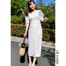 Dress Summer 2020 Brown, light green, beige, orange pink, white print, pure black S,M,L Mid length dress singleton  Short sleeve Sweet middle-waisted Decor Single breasted A-line skirt puff sleeve 25-29 years old Type A LB snidel More than 95% Chiffon Cellulose acetate solar system