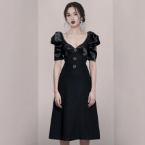 Dress Summer 2021 black S,M,L,XL Middle-skirt singleton  Short sleeve commute V-neck High waist Solid color A-line skirt Pile sleeve Others Type A YIYIYICHU Ol style Pleating, stitching, zipper 878# other Cellulose acetate