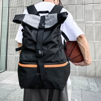 Backpack Nylon  Other / other Black, black, white edge, black, orange edge brand new large zipper leisure time Double root Japan and South Korea soft youth no Telescopic handle Solid color nothing neutral Water splashing prevention Vertical square Zipper pocket, computer pocket polyester fiber Sewing