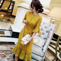 Dress Spring of 2018 Bright yellow S,M,L Independent brand M-E312A-8603