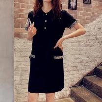 T-shirt black M,L,XL,2XL,3XL,4XL Summer 2020 Short sleeve Polo collar easy Medium length routine commute cotton 71% (inclusive) - 85% (inclusive) Korean version originality Wei