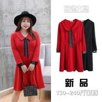 Women's large Autumn 2020 Black, red Big XL, big XXL, big XXXL, 4XL Dress singleton  commute easy moderate Socket Long sleeves Solid color lady V-neck other 18-24 years old Lace stitching Middle-skirt bow