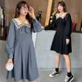 Dress Spring 2021 Dark night, bamboo charcoal ash XL,4XL,XXL,XXXL Mid length dress singleton  Long sleeves Sweet Admiral High waist Solid color Socket Others 18-24 years old Type A Stitching, bows other polyester fiber college