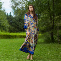 Women's large Autumn 2020 Picture color M. Large L Dress singleton  Sweet easy moderate Socket Long sleeves Abstract pattern V-neck printing and dyeing Q87 The robe of Dancing Flower meat pocket longuette Bohemia