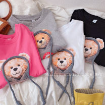 T-shirt Black, white, grey, rose Other / other Recommended height of 100cm (clothing label 110), 110cm (clothing label 120), 120cm (clothing label 130), 130cm (clothing label 140), 140cm (clothing label 150), 150cm (clothing label 160) female spring and autumn Short sleeve Crew neck Korean version