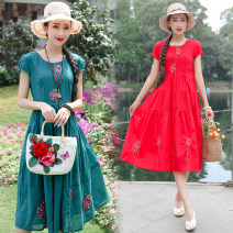 Dress Summer of 2019 M,L,XL,2XL Mid length dress singleton  Short sleeve commute Crew neck middle-waisted Socket A-line skirt other Type A ethnic style Embroidery hemp