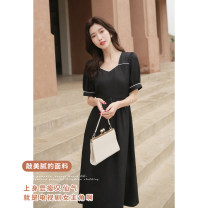 Dress Summer 2021 black S,M,L Mid length dress singleton  Short sleeve commute V-neck High waist Solid color zipper A-line skirt routine Others 25-29 years old Type A SubEn literature 1110292LP More than 95% other polyester fiber
