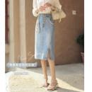 skirt Spring 2021 M,L,XL Denim light blue, denim light blue second batch Mid length dress commute High waist A-line skirt Solid color Type A 25-29 years old 1120609QJ More than 95% Denim SubEn other literature