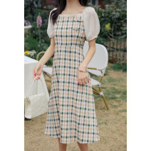 Dress Summer 2021 Green check , Red check S,M,L Mid length dress singleton  Short sleeve commute square neck High waist lattice zipper A-line skirt puff sleeve Others 25-29 years old Type A SubEn literature 1020868LP More than 95% other polyester fiber