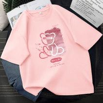T-shirt cotton 96% and above 202102201521 Short sleeve Summer 2021 Regular payment Crew neck easy routine commute zkza Korean version Cotton 100% Pure e-commerce (online sales only) S M L XL 2XL 3XL 4XL