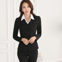 suit Autumn of 2019 S,M,L,XL,2XL,3XL Long sleeves routine Self cultivation tailored collar Single breasted commute routine Solid color 18-24 years old 96% and above polyester fiber Other / other