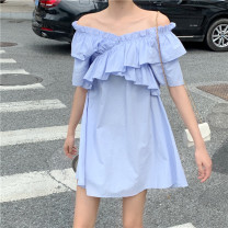 Dress Summer 2020 Purple [high quality fabric] Average size Short skirt singleton  Short sleeve commute One word collar Loose waist Solid color Socket A-line skirt Lotus leaf sleeve Others 18-24 years old Type A Korean version 31% (inclusive) - 50% (inclusive) other