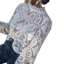 Lace / Chiffon Autumn of 2019 White, black S,M,L,XL Long sleeves Sweet Socket singleton  Straight cylinder Regular Crew neck Solid color Petal sleeve 18-24 years old 81% (inclusive) - 90% (inclusive) acrylic fibres Ruili
