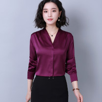 Lace / Chiffon Spring of 2019 White, pink, purple, red S,M,L,XL,2XL,3XL Long sleeves Versatile Socket singleton  Self cultivation Regular V-neck Solid color routine 40-49 years old Other / other 71% (inclusive) - 80% (inclusive) silk
