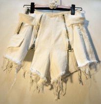 Jeans Summer 2021 white S,M,L,XL shorts High waist Wide legged trousers routine Wash, zipper Cotton denim light colour