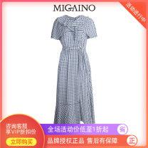 Dress Summer 2020 Blue and white XS,S,M,L,XL longuette singleton  Short sleeve V-neck lattice zipper A-line skirt Lotus leaf sleeve 25-29 years old Type A Migaino / manyanu MK22DA105
