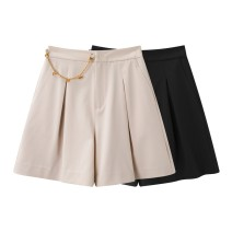 Casual pants Black, beige S,M,L,XL Summer 2021 shorts Wide leg pants High waist Versatile routine 96% and above A1GCB2111 Peacebird other pocket polyester fiber
