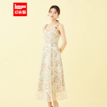 Dress Spring 2021 Brown green flower S,M,L Middle-skirt singleton  Sleeveless square neck High waist Broken flowers zipper A-line skirt routine camisole 18-24 years old Type A IEF / aiyifu Gauze 2104Q-B3102- More than 95% other polyester fiber