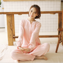 Pajamas / housewear set female Other / other M,L,XL cotton Long sleeves Simplicity Leisure home autumn routine Solid color trousers More than 95% Middle-skirt
