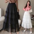 skirt Spring 2020 Average size White, pink, black, gd324-635 white longuette commute High waist Cake skirt Solid color Type A 25-29 years old 1217-012 91% (inclusive) - 95% (inclusive) polyester fiber Gauze Korean version