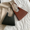 Bag The single shoulder bag PU Tote Bag brand new Japan and South Korea in leisure time hard Magnetic buckle no Solid color Single root One shoulder hand nothing youth Vertical square Crocodile pattern Soft handle PU leather