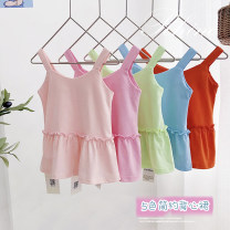 Vest sling Pink, rose, orange, light blue, fruit green camisole 90,100,110,120,130 summer Can Rhine female No model leisure time Solid color Crew neck nothing Cotton blended fabric Other 100% B062 Class B 2 years old, 3 years old, 4 years old, 5 years old, 6 years old Chinese Mainland Foshan City