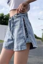 Women's large Summer 2021 Blue, black M, L. [recommended 100-120 kg], 1XL [recommended 120-140 kg], 2XL [recommended 140-160 kg], 3XL [recommended 160-180 kg], 4XL [recommended 180-200 kg], s, 5XL Jeans singleton  commute easy thin Korean version Denim Other shorts