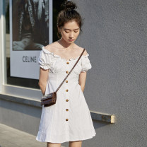 Dress Summer 2021 white S M L Short skirt singleton  Short sleeve commute square neck High waist Solid color Single breasted A-line skirt puff sleeve Others 18-24 years old Type A Silvermoon / Selmo Korean version 81% (inclusive) - 90% (inclusive) cotton Cotton 85% others 15%