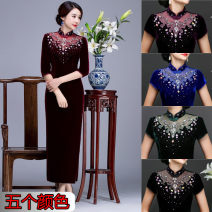 cheongsam Spring of 2018 XL,XXXL,XXL,L,M,S,4XL three quarter sleeve long cheongsam grace banquet Straight front Solid color Over 35 years old Nail bead Nail Drill