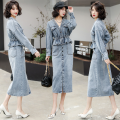 Dress Spring 2021 Malachite blue M,L,XL,2XL,3XL Mid length dress Two piece set Long sleeves commute Polo collar High waist Solid color Single breasted A-line skirt routine Others Type A Simplicity Holes, buttons 81% (inclusive) - 90% (inclusive) Denim cotton