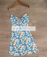 Dress Summer 2021 blue XS,S,M,L Short skirt singleton  commute High waist 25-29 years old Type H silk