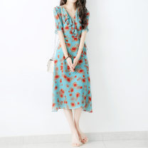 Dress Summer 2021 Sunflower on blue background M,L,XL,2XL Mid length dress singleton  Short sleeve commute V-neck High waist Decor Socket other routine Zhenpinfang lady Lace up, printed BQ0153 More than 95% Crepe de Chine silk