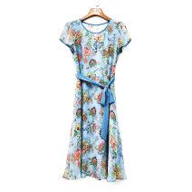 Dress Summer 2021 Pink + natural color belt, blue + natural color belt M,L,XL,2XL More than 95% other