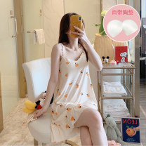 Nightdress Other / other 160(M),165(L),170(XL),175(XXL) Sweet camisole pajamas Middle-skirt summer Cartoon animation youth V-neck cotton printing 81% (inclusive) - 95% (inclusive) pure cotton 200g and below