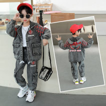 suit Nalanpig / Nalan pig black 110cm,120cm,130cm,140cm,150cm,160cm male spring and autumn leisure time Long sleeve + pants 2 pieces routine There are models in the real shooting Single breasted nothing Solid color cotton children Expression of love D307