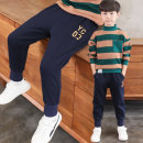 trousers Other / other male 120cm,130cm,140cm,150cm,160cm,170cm Black yc03 spring and autumn sweatpants, Navy yc03 spring and autumn Sweatpants spring and autumn trousers leisure time There are models in the real shooting Leather belt middle-waisted Don't open the crotch Class B NL-BK84123M-3