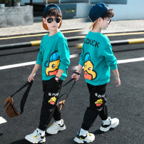 suit Nalanpig / Nalan pig Lake green, orange, grey green 110cm,120cm,130cm,140cm,150cm,160cm male spring and autumn leisure time Long sleeve + pants routine There are models in the real shooting Socket nothing Cartoon animation cotton children Expression of love YBT03117