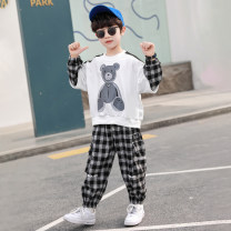 suit Nalanpig / Nalan pig White, black 110cm,120cm,130cm,140cm,150cm,160cm male spring and autumn leisure time Long sleeve + pants 2 pieces routine There are models in the real shooting Socket nothing other children Giving presents at school nlxz-21002 Other 100% Chinese Mainland