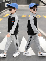 suit Nalanpig / Nalan pig Grey, white 110cm,120cm,130cm,140cm,150cm,160cm,170cm male spring and autumn leisure time Long sleeve + pants 2 pieces routine There are models in the real shooting Zipper shirt No detachable cap other cotton children Learning reward nlxz-202089 Chinese Mainland
