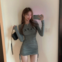 Dress Autumn 2020 Gray, black Average size Short skirt singleton  Long sleeves commute Crew neck High waist letter Socket other routine Others 18-24 years old Other / other Korean version Pleating, printing, pleating 9992#