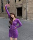 Dress Winter 2020 violet Average size Short skirt singleton  Long sleeves commute V-neck High waist Single breasted A-line skirt routine 18-24 years old Other / other Korean version