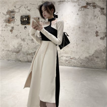 Dress Spring 2021 Rice, apricot and black S,M,L Mid length dress singleton  Long sleeves commute other High waist Solid color Socket other routine Hanging neck style 18-24 years old Other / other Korean version Splicing, asymmetric 6915# 31% (inclusive) - 50% (inclusive) polyester fiber