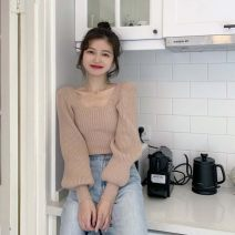 Wool knitwear Autumn 2020 Average size Apricot, grey, black Long sleeves singleton  Socket other 31% (inclusive) - 50% (inclusive) have cash less than that is registered in the accounts routine commute Self cultivation square neck routine Solid color Korean version 18-24 years old