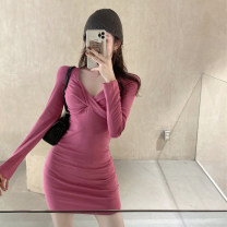 Dress Autumn 2020 Black, pink Average size Short skirt singleton  Long sleeves commute V-neck High waist Solid color Socket other routine Others 18-24 years old Other / other Korean version fold