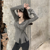 T-shirt Army green, grey, coffee Average size Autumn 2020 Long sleeves V-neck Self cultivation routine commute cotton 51% (inclusive) - 70% (inclusive) 18-24 years old Korean version Solid color Asymmetry, button
