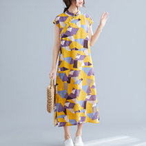 Women's large Summer of 2019 Yellow, sky blue Large XL, large XXL, large L, M Dress singleton  commute easy thin Socket Short sleeve shape literature stand collar hemp printing and dyeing routine Button 30% and below longuette