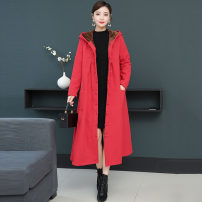Women's large Winter of 2019 Green, red, black Large XL, large XXL, large L, M Windbreaker singleton  commute easy thickening Cardigan Long sleeves Solid color Simplicity Hood Medium length cotton routine pocket 81% (inclusive) - 90% (inclusive)