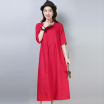 Dress Summer of 2019 Red, blue M,L,XL,2XL longuette singleton  elbow sleeve commute V-neck Loose waist Solid color Socket routine Type A literature pocket 30% and below hemp